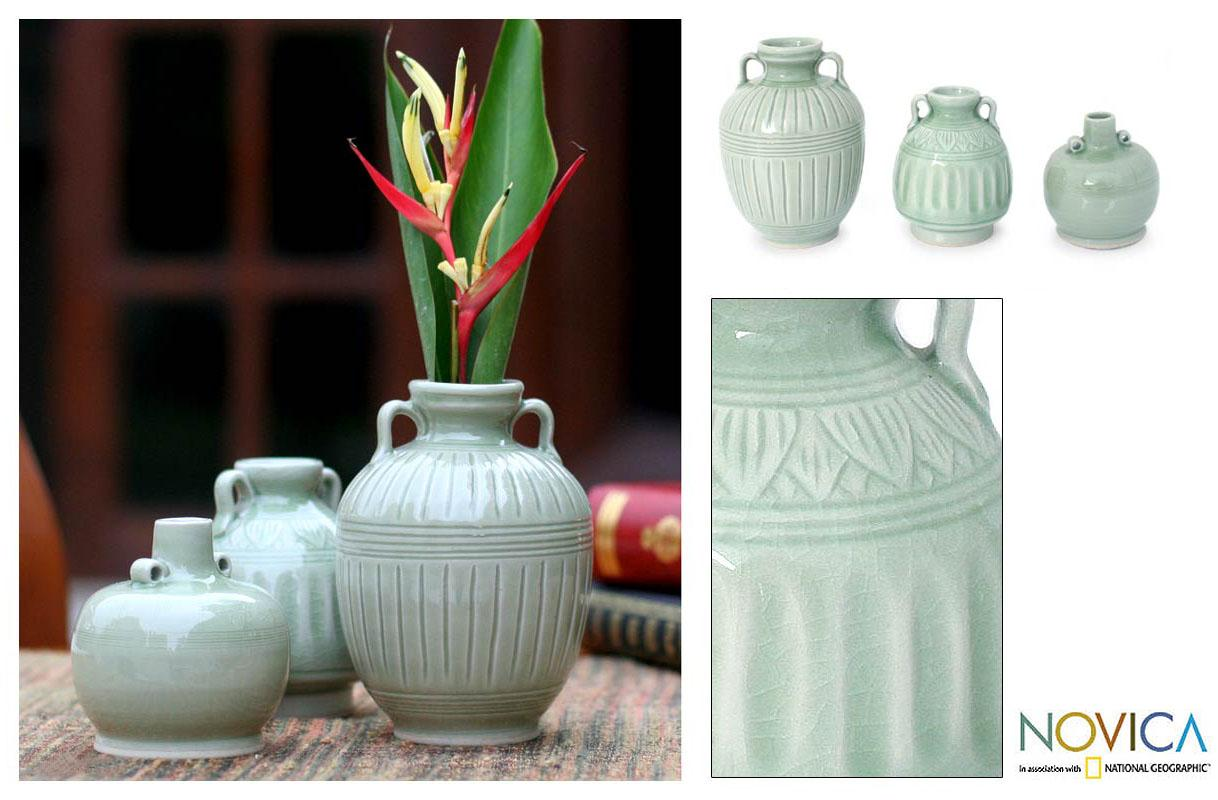 Handmade Set of 3 'Sawankhalok Meadows' Celadon Ceramic Vases (Thailand)