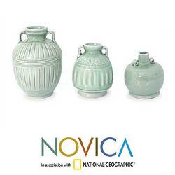 Handmade Set of 3 'Sawankhalok Meadows' Celadon Ceramic Vases (Thailand) - Thumbnail 1