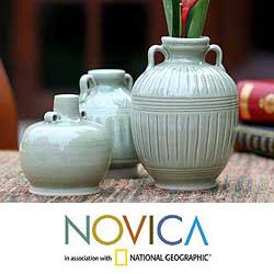 Handmade Set of 3 \u0027Sawankhalok Meadows\u0027 Celadon Ceramic Vases (Thailand) & Andes Glass Bottles with Stopper (Set of 3) - Free Shipping Today ...