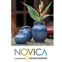 Handmade Set of 3 'Sawankhalok Sky' Celadon Ceramic Vases (Thailand)