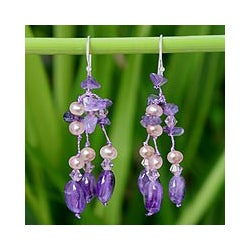 'Lavender Ice' Freshwater Pearl Amethyst Earrings (4 mm) (Thailand)
