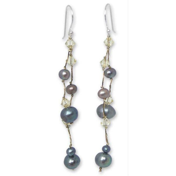 Handmade Sterling Silver X27 Grey Iridescence Freshwater Pearl Earrings