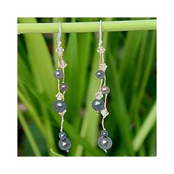 Sterling Silver 'Grey Iridescence' Freshwater Pearl Earrings (4-8 mm) (Thailand)