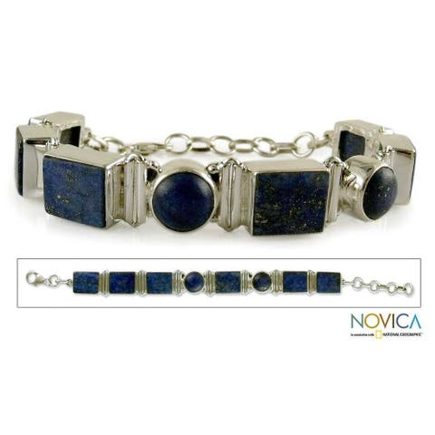Handmade Sterling Silver Connected Lapis Lazuli Link Bracelet (India)