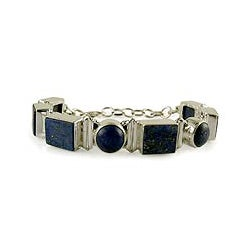 Sterling Silver 'Connected' Lapis Lazuli Link Bracelet (India)