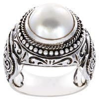 Handmade Sterling Silver Filigree Rope Detail Round Mabe Pearl Dome Ring (14 mm) (Indonesia) - White