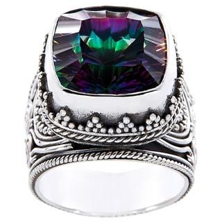 Handmade Sterling Silver Square Exotic Fire Quartz Monarch Ring (Indonesia)