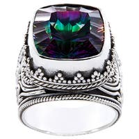Handmade Sterling Silver Square Exotic Fire Quartz Monarch Ring (Indonesia)