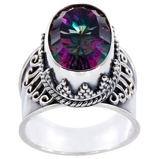 Handmade Sterling Silver Oval Exotic Quartz Prominence Ring (Indonesia)
