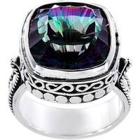 Handmade Sterling Silver Square Mystic Fire Quartz Luxury Ring (Indonesia) - Green
