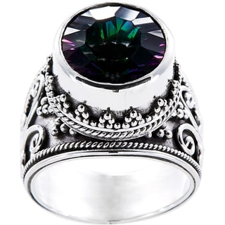 Sterling Silver Round Exotic Fire Quartz Royale Ring (Indonesia)