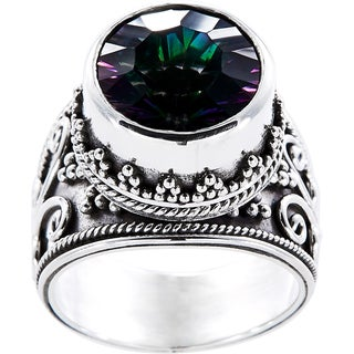 Handmade Sterling Silver Round Exotic Fire Quartz Royale Ring (Indonesia)