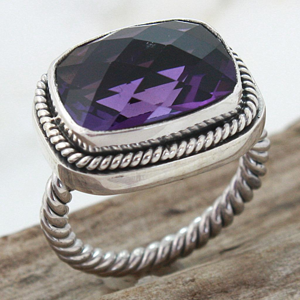 Sterling Silver Faceted Amethyst Cable Ring (Indonesia)