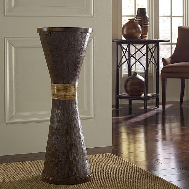 Wood Grain and Rattan Flute Floor Vase (Indonesia)