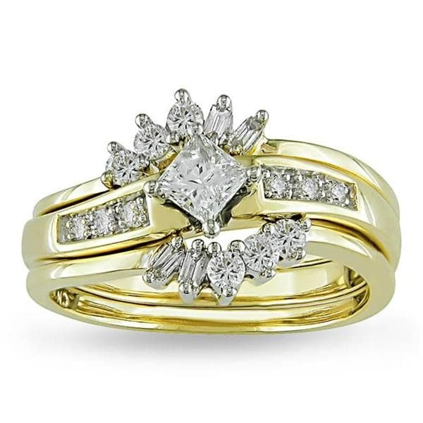 Miadora Signature Collection 14k Yellow Gold 5/8ct TDW Diamond Bridal Ring Set (G-H, I1-I2)
