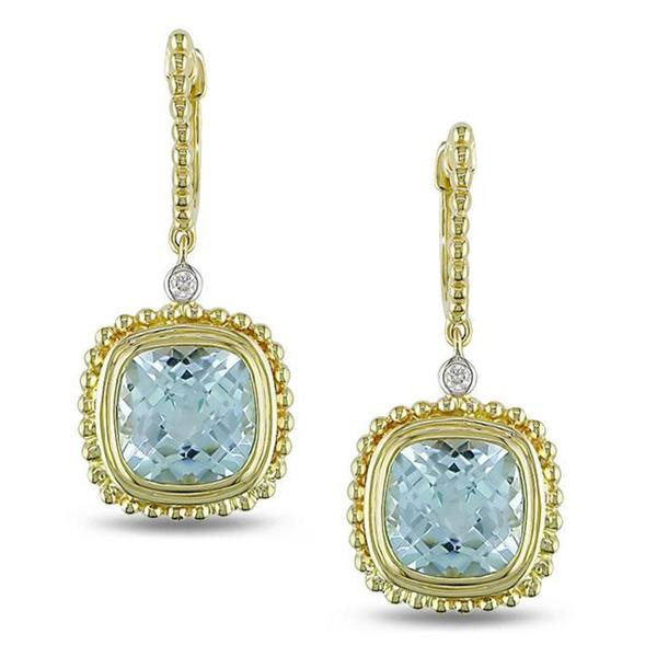 Miadora 14k Yellow Gold Blue Topaz And Diamond Earrings