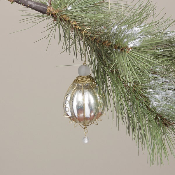 Silver Glass Round Kugel Christmas Ornament (India)