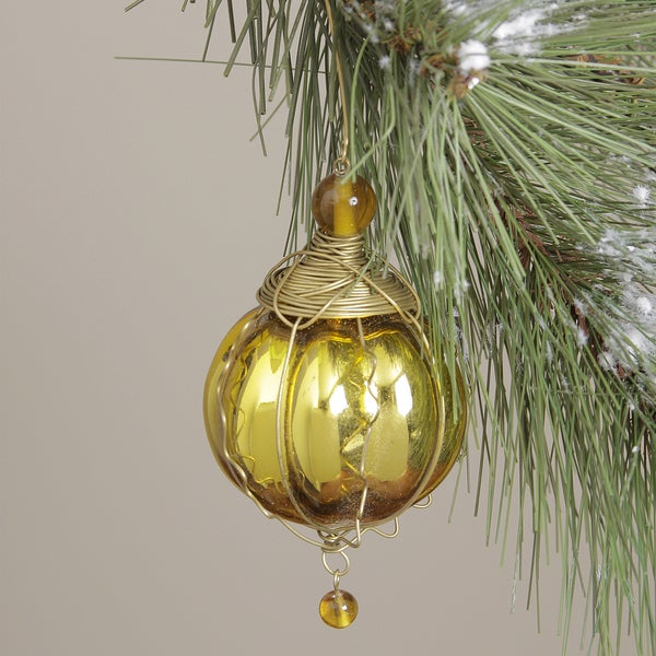 Gold Glass Round Kugel Christmas Ornament (India)