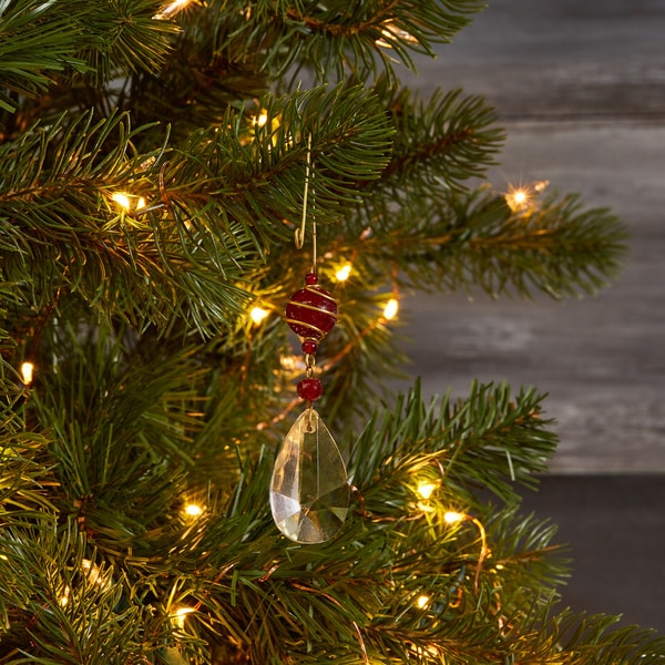 Handmade Crystal Glass Hanging Ornament with Brass Trim (Made in India)