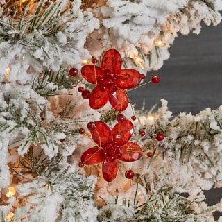 Handmade Glass and Acrylic Flower Hanging Christmas Ornament (India)