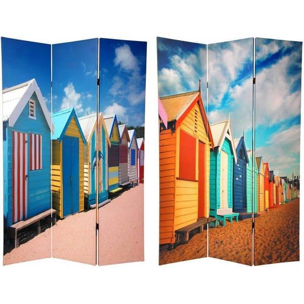 Handmade Wood and Canvas Double-sided Cabana Beach Room Divider (China)