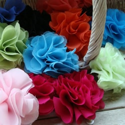 Woman's Solid-color Chiffon-mix Four-inch-wide Flower Brooch Pin