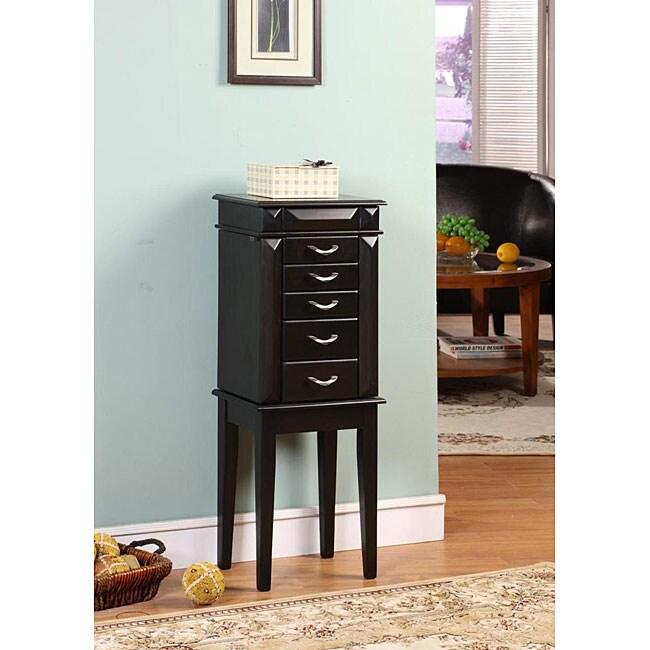 Granda Black 5-drawer Jewelry Armoire