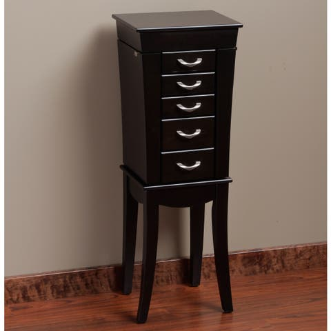 Eiffel Black 5-Drawer Jewelry Armoire