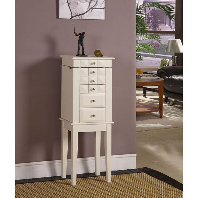 Diamonte White 5-Drawer Jewelry Armoire