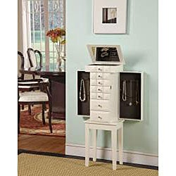 Diamonte White 5-Drawer Jewelry Armoire - Thumbnail 1