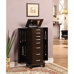 Charging Mahogany 7-Drawer Jewelry Armoire - Thumbnail 1