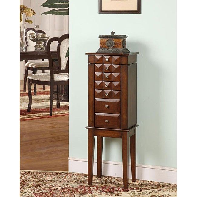 Diamante Coffee 6-Drawer Jewelry Armoire