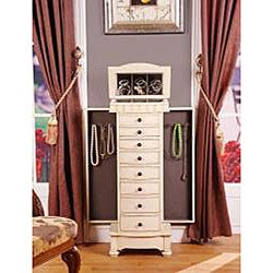 Muscatto Antique Beige 8-Drawer Charging Jewelry Armoire - Thumbnail 1