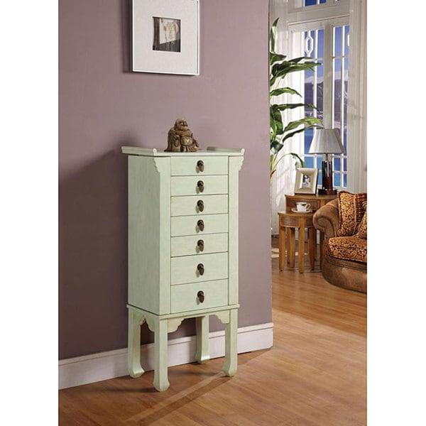 Ningbo Rustic Green 6-drawer Jewelry Armoire
