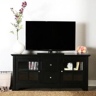 52-inch Black Solid Wood TV Stand