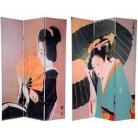 Handmade Wood and Canvas Double-sided Geisha Room Divider (China)