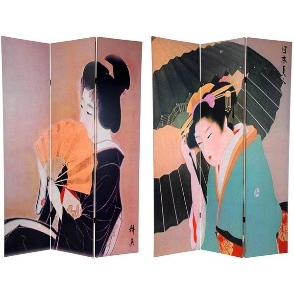 Handmade Wood and Canvas Double-sided Geisha Room Divider (China)