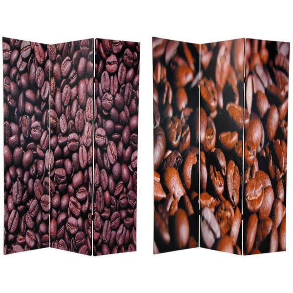 Handmade Wood and Canvas Double-sided Coffee Beans Room Divider (China)
