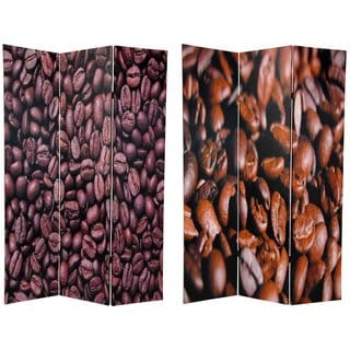 Wood and Canvas Double-sided Coffee Beans Room Divider (China)