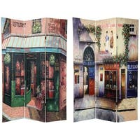 Handmade Wood and Canvas Double-sided Parisian Cafe Room Divider (China)