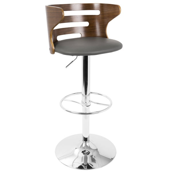 Cosi Mid-Century Modern Adjustable Barstool in Walnut and Faux Leather - Free Shipping Today - Overstock.com - 13323329  sc 1 st  Overstock.com & Cosi Mid-Century Modern Adjustable Barstool in Walnut and Faux ... islam-shia.org