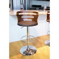 Carson Carrington Sala Mid-Century Modern Walnut Faux Leather Adjustable Barstool