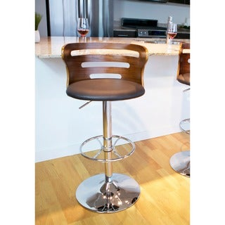 Cosi Mid-Century Modern Adjustable Barstool in Walnut and Faux Leather