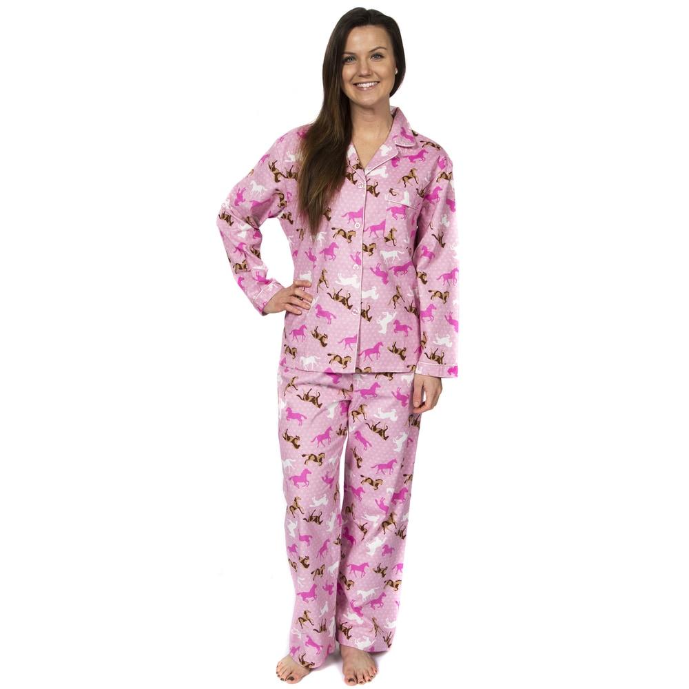Leisureland Womens Horse Print Flannel Pajamas
