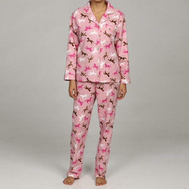 Leisureland Women's Horse Print Flannel Pajamas