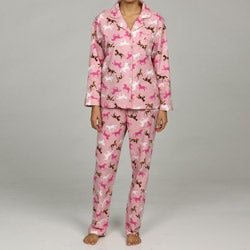 Leisureland Women's Horse Print Flannel Pajamas