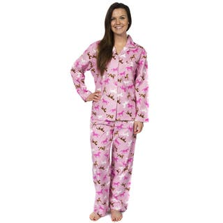 Leisureland Women's Horse Print Flannel Pajamas|https://ak1.ostkcdn.com/images/products/5548955/P13323339.jpg?impolicy=medium