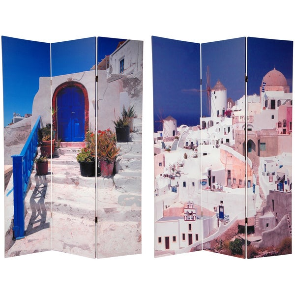 Wood and Canvas Double-sided Santorini Greece Room Divider (China)