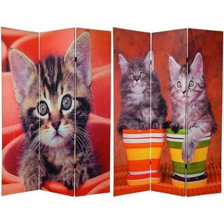 Wood and Canvas Double-sided Kittens Room Divider (China)