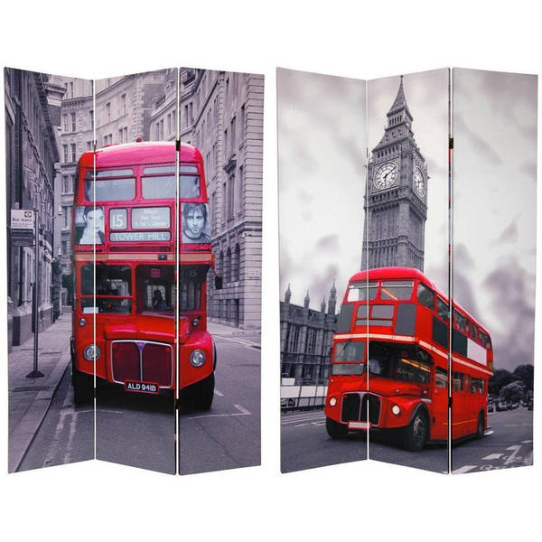 Handmade Wood and Canvas Double-sided Double Decker Bus Room Divider (China)